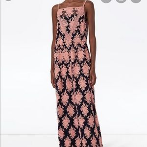 Burberry coral and navy lace maxi gown